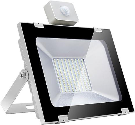 100w Foco led exterior con Sensor Movimiento ,Led Proyector para Exterior Iluminación Decoración alto brillo 1000lm IP 65 , 6000k blanco frío, luz led para Jardín, Garaje, Bodega y Patio …: Amazon.es: Iluminación