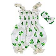 Gonxifacai Toddler Baby Boy Girls St. Patrick's Day Sleeveless Suspender Romper Jumpsuit Clothes(Green,12-18 Months)