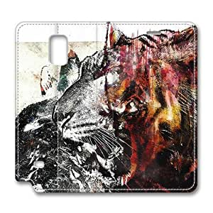 Brain114 Fashion Style Case Design Flip Folio PU Leather Cover Standup Cover Case with Beasts Art Pattern Skin for Samsung Galaxy Note 4