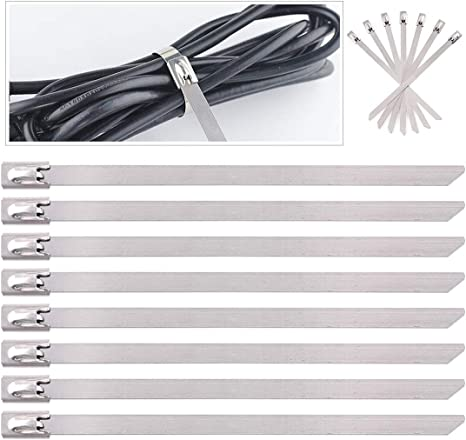 """10 Pc Steel Stainless Metal Cable Zip Tie Strap Locking Exhaust Pipe Header 12/"""""""