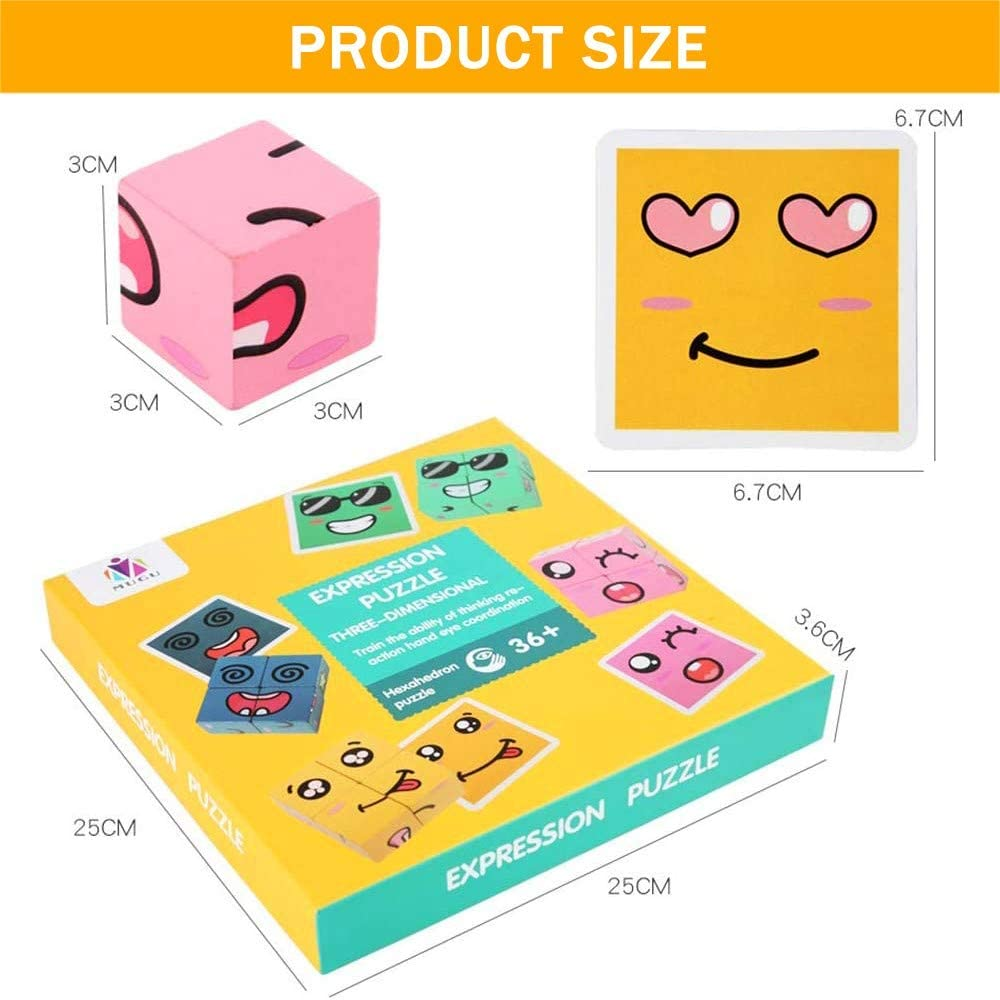Matching Puzzles Improves Intelligence Educational Toys for Kid 3 Year Up ZDUM Expression Puzzle Wooden Building Blocks Toys