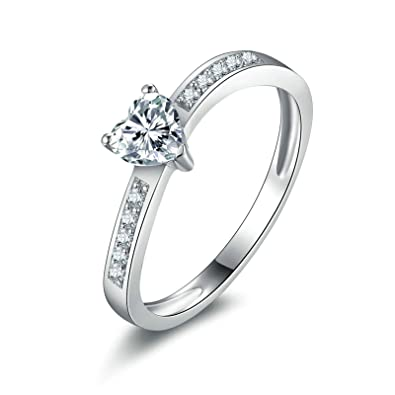 Women Wedding Bands Bishilin Silver Plated Love Heart Cut CZ Wedding Engagement Ring Clear Size 7