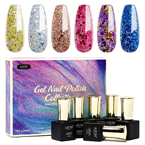 6pcs UV Led Gel Nail Polish Set - Gorgeous Colors Glitter Diamond Gel Polish Nail Art Gift Box