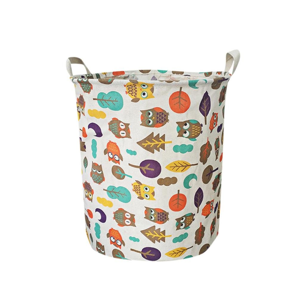 Wanshop Large Sized Waterproof Animal Canvas Laundry Fabric Folding Laundry Hamper Bucket Cylindric Burlap Canvas Storage Basket A, Multicolor