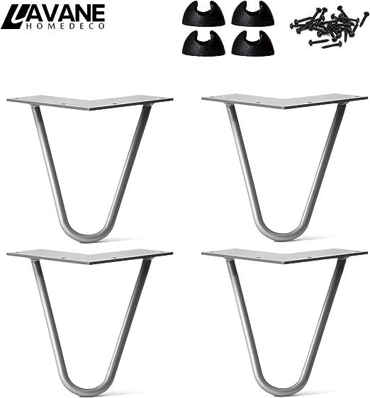 6 Zoll 15cm Haarnadel Tischbeine La Vane 4x DIY Metall Haarnadelbeine Hairpin Legs mit Bodenschoner /& Schrauben 10mm Doppelstab M/öbelbein Schwarz f/ür Esstisch Couchtisch Schreibtisch