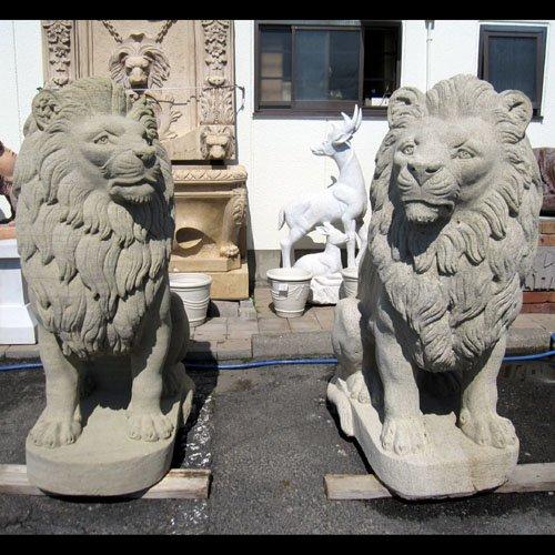 天然 砂岩彫刻 ライオン(ペア) B00FGR1G5K