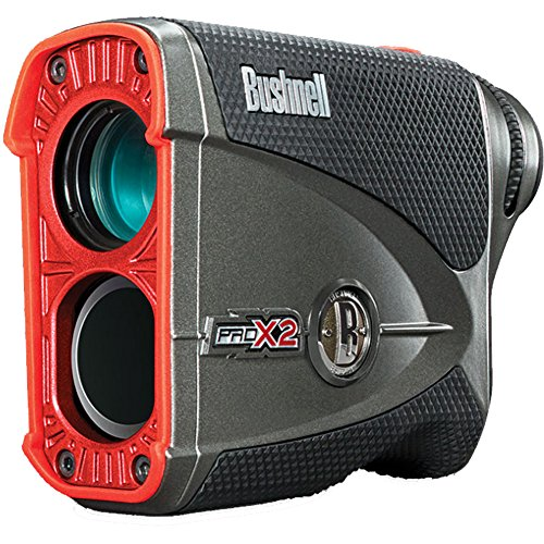 Bushnell Pro X2 Golf Laser Rangefinder GIFT BUNDLE | Includes Golf Rangefinder (Slope & Non-Slope Function) with Carrying Case(Clip included), Custom Ball Marker Hat Clip Set and Two (2) CR2 Batteries by Bushnell (Image #2)
