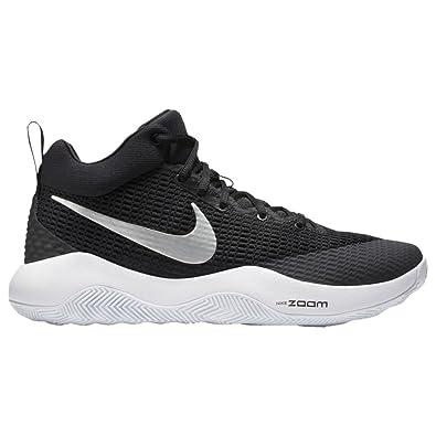 NIKE Men's Zoom Rev TB Basketball Shoe 15 D(M) US Black/Metallic Silver-White