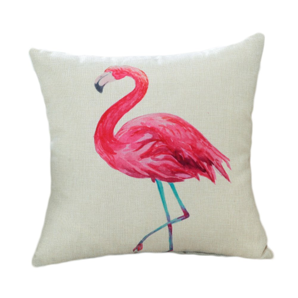 Qinlee Cute Pink Flamingo Printing Cute Pillowcase Decorative Throw Pillow Case Cushion Cover for Car Home Decor(Single flamingo)