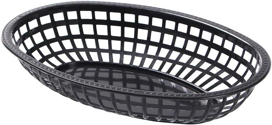 11 x 7 Inch Fast Food Baskets, 10 Oval Deli Baskets - Microwave Safe, Dishwasher Safe, Black Plastic Serving Baskets, For Burgers, Fries, Sandwiches, And More - Restaurantware