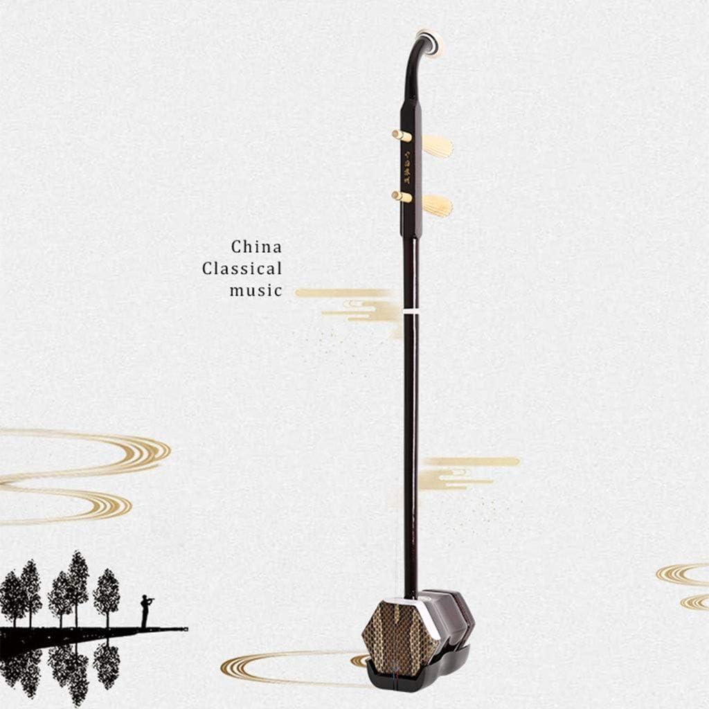 Lepeuxi Violon en bois Erhu chinois 2 cordes violon Huqin forme hexagonale Sting Instrument avec /étui de transport Bow Bridge