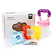 Baby Food Feeder - Tinabless Baby Fresh Fruit Feeder Teething Toys with Pacifier Clip Strap for Infant, Kids, Toddlers - M (2Pcs)