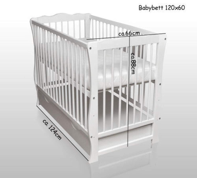 Babybett Kinderbett weiß Bettset Minky Juniorbett Matratze Schublade 120x60 Neu