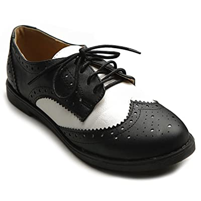 Ollio Women's Flat Shoe Wingtip Lace Up Two Tone Oxford | Oxfords