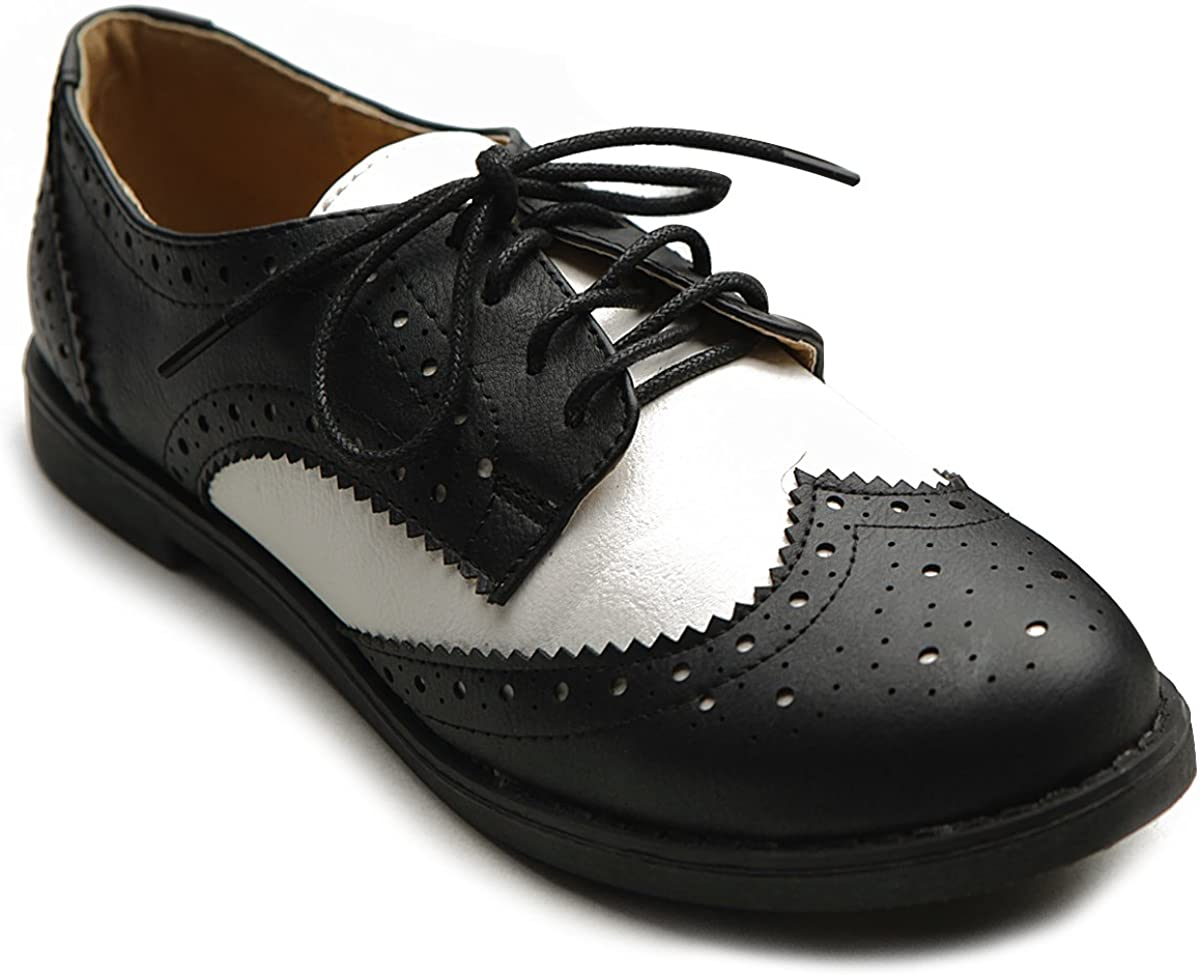 Ollio Women's Flat price Shoe Max 81% OFF Wingtip Lace Up Oxford Two Tone