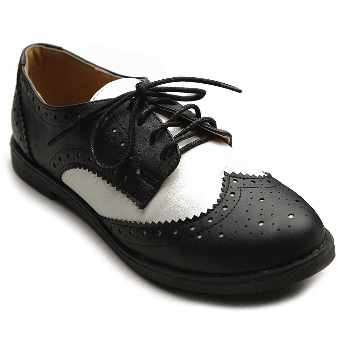 Ollio Women's Flat Shoe Wingtip Lace up Two Tone Oxford M2913(9 B(M) US, Black)
