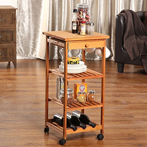 ULTIDECO Utility Wooden Kitchen Rolling Cart with Wine Rack  two storage shelves with top Drawer and table top, Honey Brown stain, 13 inch x 13 inch x 30.7 inch