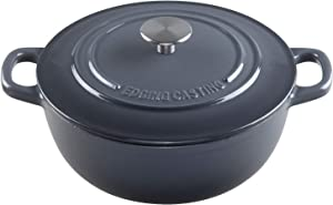 EDGING CASTING Enameled Cast Iron Thermal Cooker with Dual Handle, 5QT, Gray