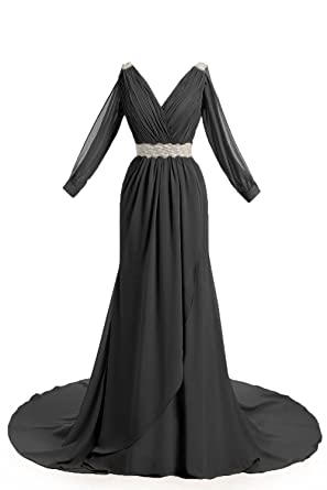 b15e0469c8c MariRobe Women s Greek Style Beaded Pleat Long Sleeve Chiffon Long Evening  Dress US2