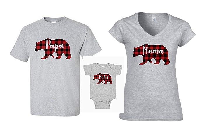 f638b090 Buffalo Plaid Valentines Day Shirts Grey Mama Bear Baby Bear Papa Bear  Family Shirts Gift For Mom Mama Bear Shirt: Amazon.ca: Handmade