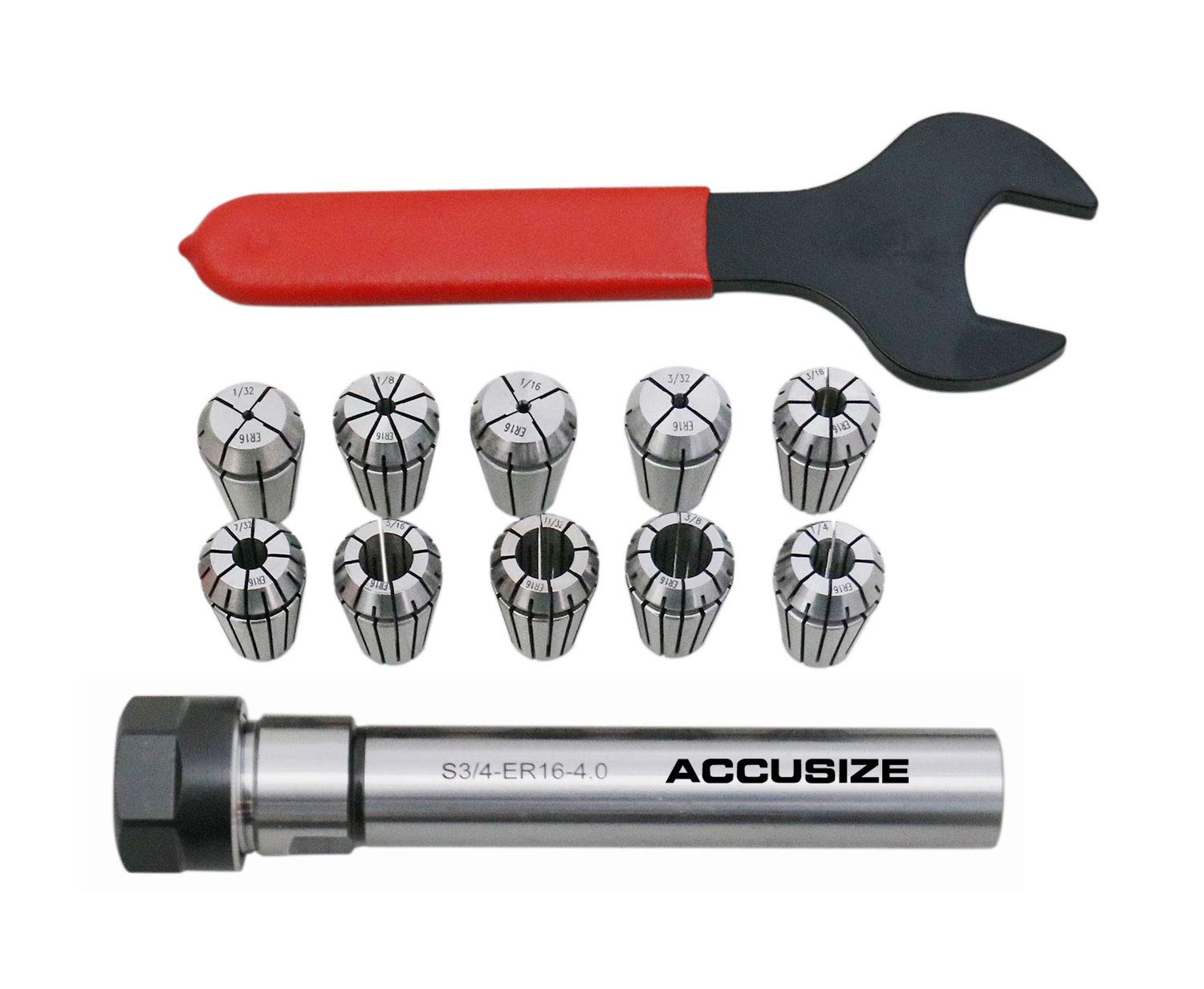 AccusizeTools - 10 pc ER16 collet set, 1/32'' to 3/8'', plus a 3/4'' straight shank collet holder, 0223-0307