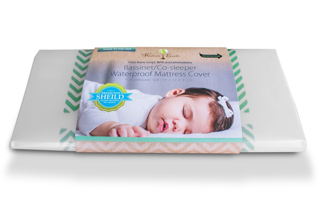 Harlow's Earth Crib Co-Sleeper/Bassinet Mattress Cover- Waterproof Mattress Cover- Toxic Gas Shield for Safe Sleep Harlow' s Earth