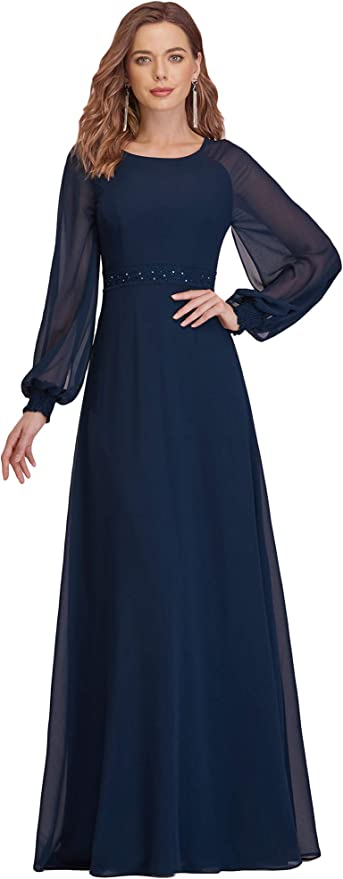 1940s Dress Styles Ever-Pretty Womens Long Sleeve A Line Maxi Chiffon Beading Formal Dress 0332 $42.99 AT vintagedancer.com