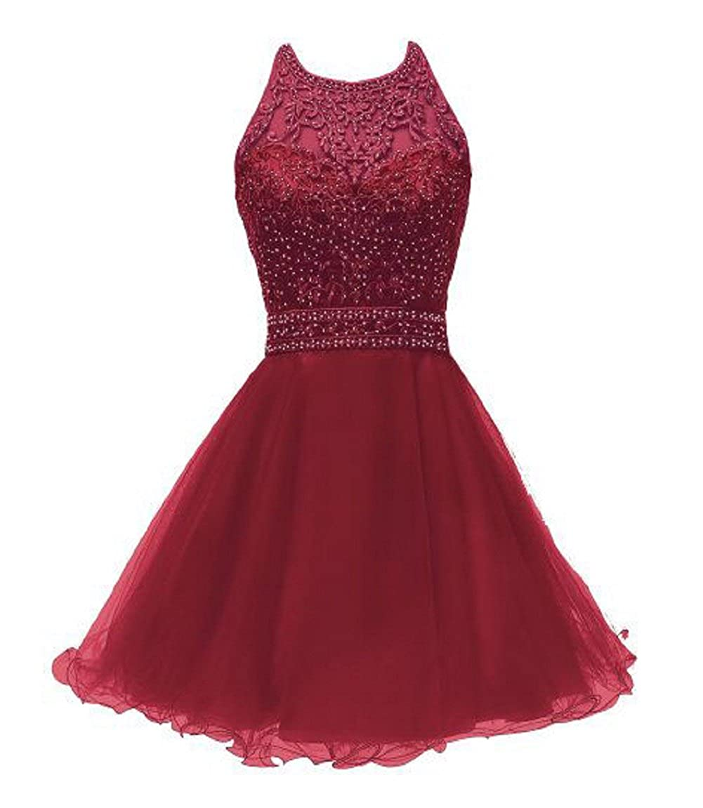 Burgundy1191 SHANGSHANGXI Lace Appliques Short Prom Dresses Tulle Beaded Homecoming Party Dress