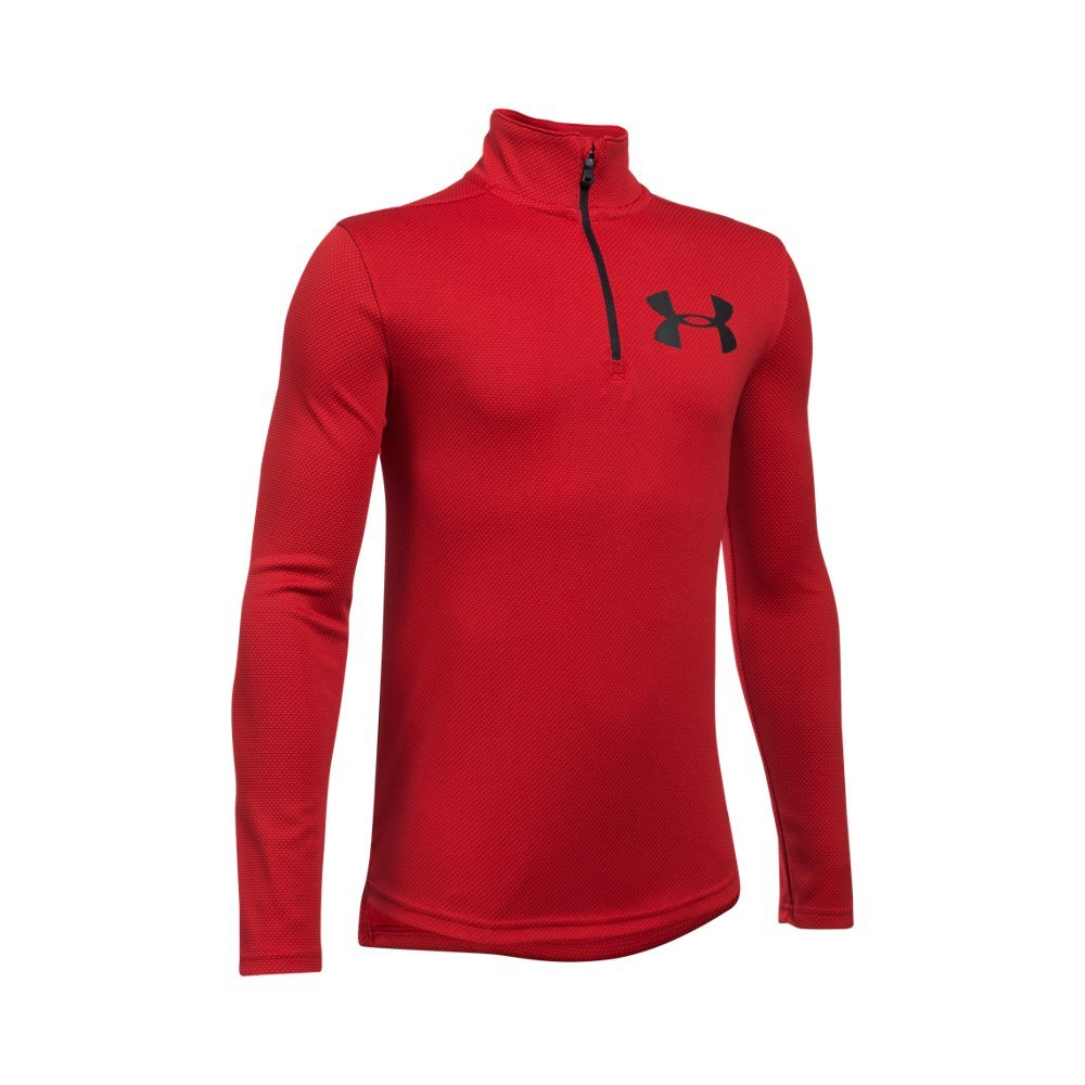 Under Armour Boys' Tech Textured ¼ Zip,Red /Black, Youth X-Small by Under Armour