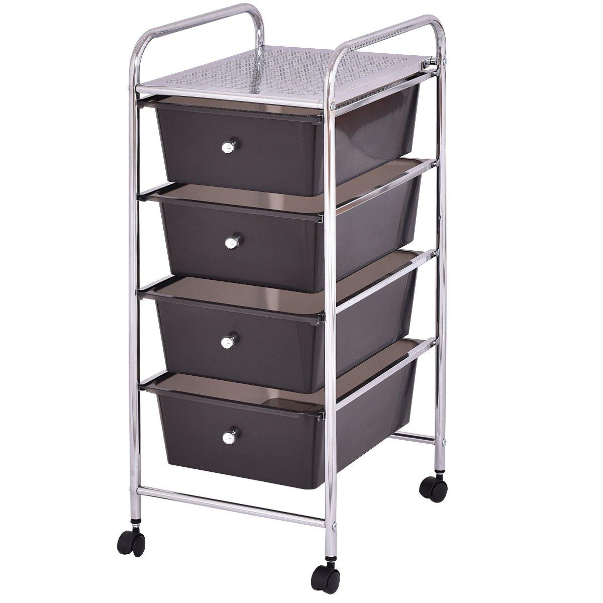 Giantex 4 Drawers Cart Storage Bin Organizer Rolling Storage Cart Metal Frame Plastic Drawers Flexible Wheels Home Office Scrapbook Supply & Paper Shelf