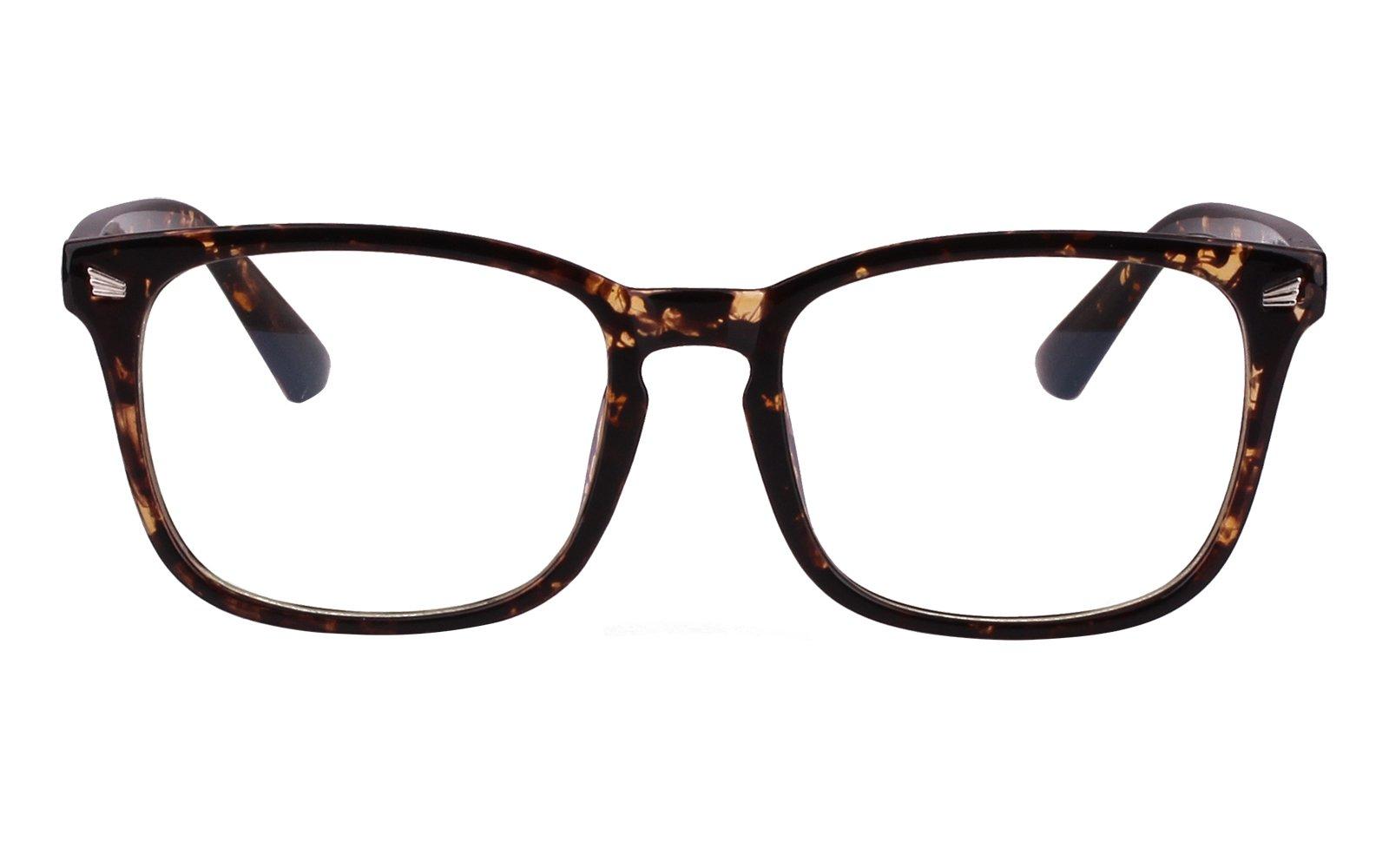 Agstum Wayfarer Plain Glasses Frame Eyeglasses Clear Lens (Brown flowers, 53) by Agstum