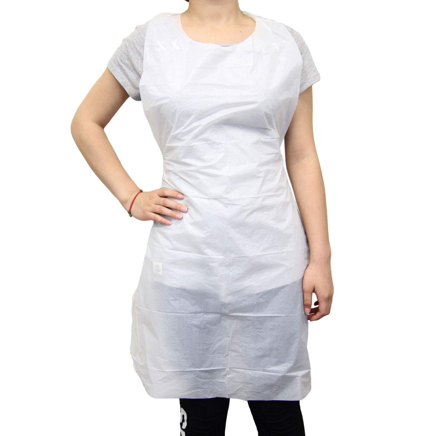 Disposable 24''x42'' Medium Waterproof Grease Resistant Poly Adult Women Men Bib Apron with Dispenser Box, White [100 Pack]