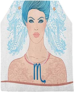 Zodiac Scorpio Table Runner,Young Astrology Lady with Blue Hair as Scorpion Tail and Floral Details Tabletop Collection for Dinner Parties Wedding Events Decor,16x84 Inch,Multicolor