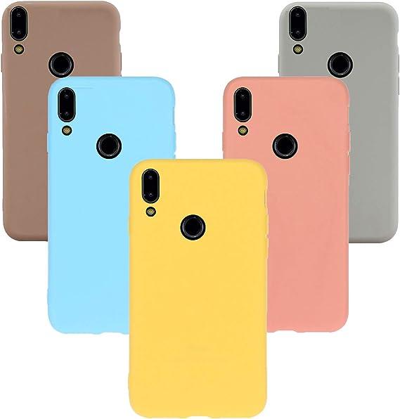 XTstore 5 x Coque pour Xiaomi Redmi Note 7, Étui Silicone Souple Coque Anti Rayures Case Cover Housse Protection - Kaki, Bleu Clair, Orange, Jaune, Gris
