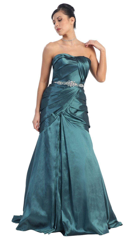 Amazon.com: US Fairytailes Strapless Taffeta Prom Dress Long Gown ...