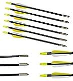 30 Inch 6pcs Fibreglass Arrows Field Tips Archery Fletched Fiberglass Nock Practice Target Broadhead Arrows Set For Recurve/Compound Bow Or Longbow