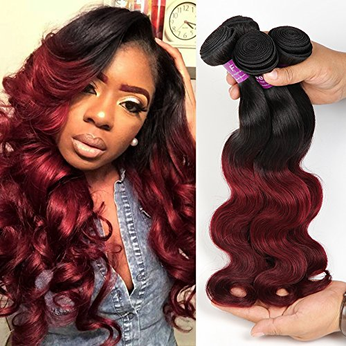 Soft Feel Hair 1b Burgundy Ombre Body Wave 3 Bundles Peruvian Human Hair 2 Tone Body Wave Ombre Hair Extensions (16 18 20)