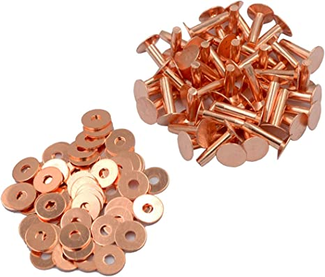 DGOL 50 Sets Shinning #12 Size 12 Red Copper Burrs Rivets Washers 9//16 inch 14mm Long