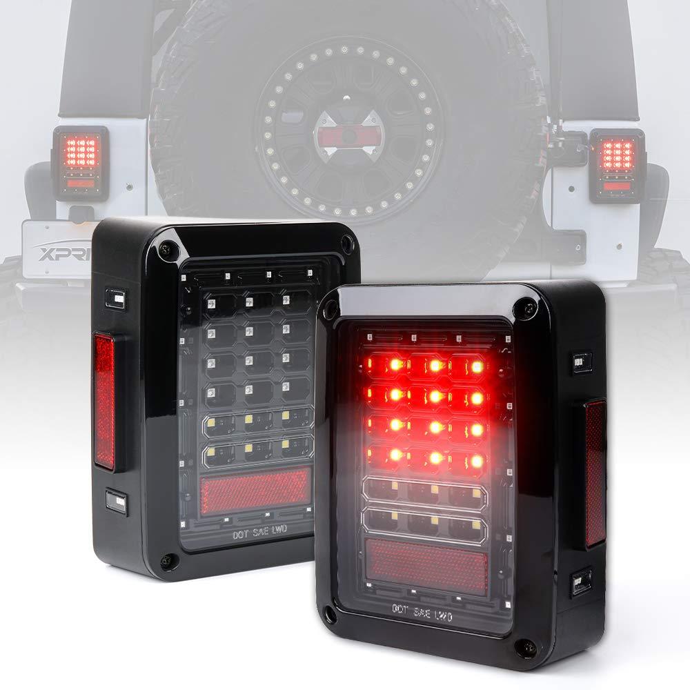 Xprite Clear Lens Red LED Tail Light Assembly w/ Turn Signal & Back Up For Jeep Wrangler JK JKU 2007 - 2016 TL-JEEP-JK-CLR-G1
