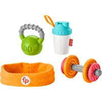 Fisher-Price Baby Biceps Gift Set, 4 fitness-themed baby toys with wearable costume bib, rattle and teether for babies…
