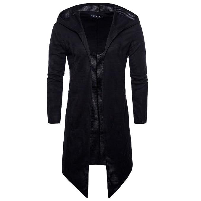 YCUEUST Moda Chaquetas de Punto Hombre Manga Larga Casual Cardigan Abrigo Largo Negro x-Large: Amazon.es: Ropa y accesorios