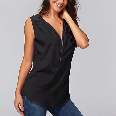 Camisetas verano mujer,❤️Ba Zha Hei Tops de manga corta con cremallera para mujer Mujer Playa Pareo Camisola con Cuello V Playa Vestido blusa Verano para ...