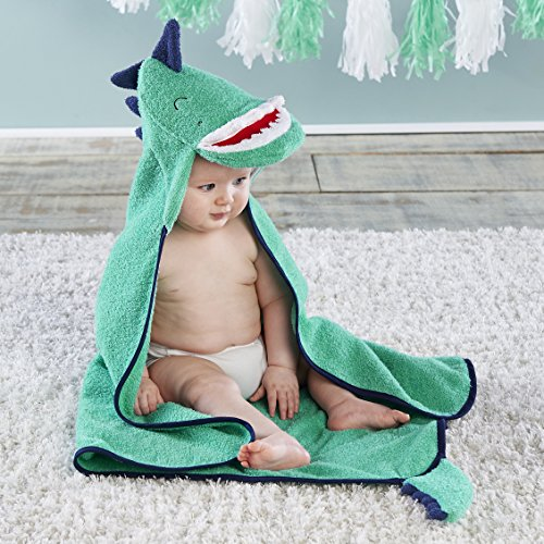 Baby Aspen, Dino Baby T-Rex Hooded Towel, Terry Cloth