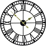 YIDIE 32 inch Pure Metal Large Wall Clock Decorative Display Non-Ticking Battery Operated Decor Clocks,Black…