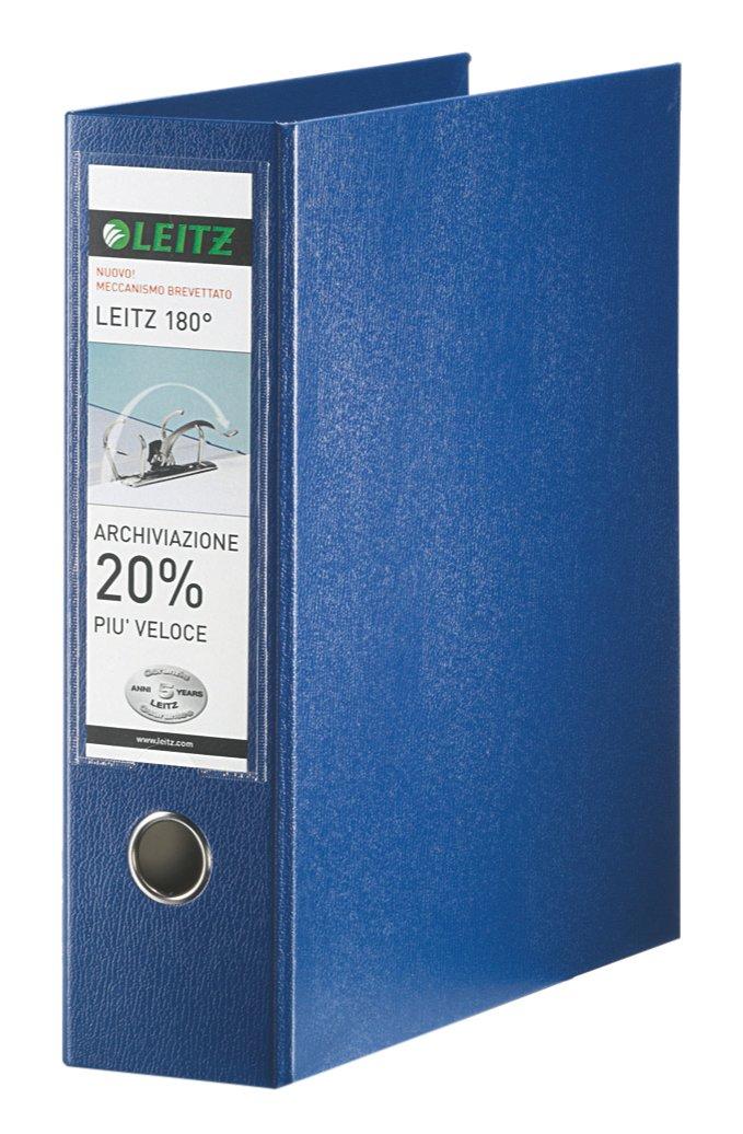 Leitz Raccoglitore con meccanismo a leva 180° e con custodia, Formato commerciale, Cartone rivestito in polipropilene, Dorso 8 cm, Blu, 390763050 Esselte