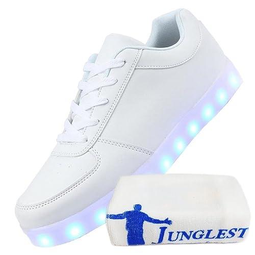 [Presente:pequeña toalla]Blanco 38 Mujeres Unisex 7 JUNGLEST LED Zapatos colores Hombre VCM5YHq