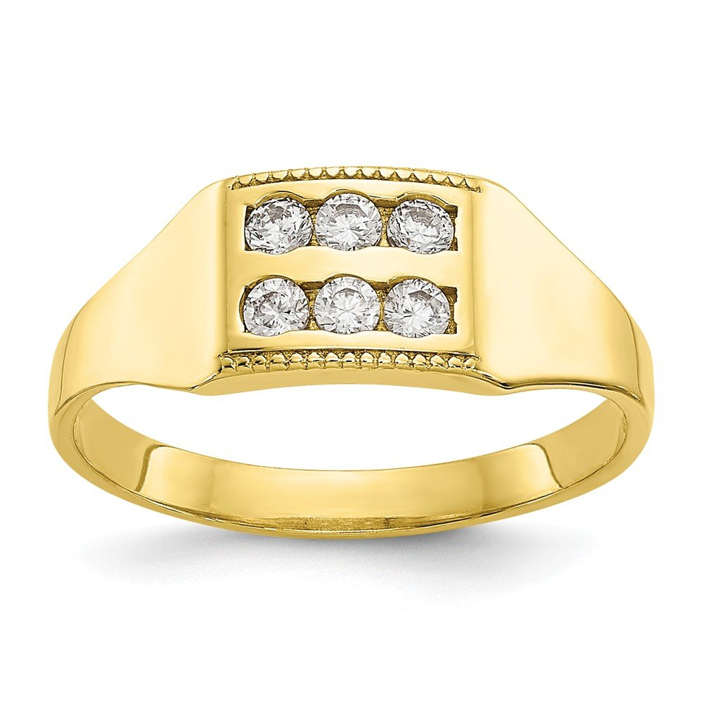 10k CZ Polished Childs Ring
