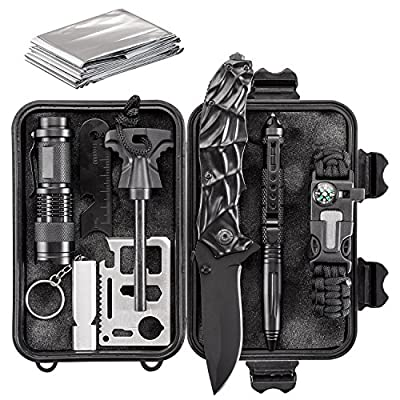 Emergency Survival Kit 10 in 1 - Outdoor Survival Gear - Folding Knife, Paracord Bracelet, Emergency Blanket, Fire Starter, Flashlight, Whistle, Tactical Pen etc - Camping, Hiking, Survival Trips