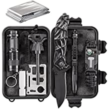 Emergency Survival Kit 10 in 1 - Outdoor Survival Gear - Folding Knife, Paracord Bracelet, Emergency Blanket, Fire Starter, Flashlight, Whistle, Tactical Pen etc - Camping, Hiking, Survival Trips