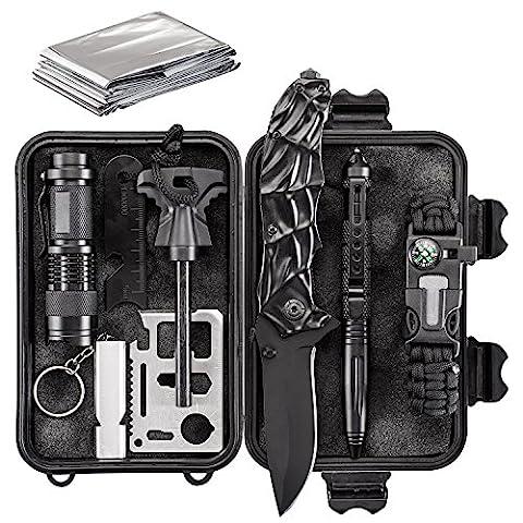 Emergency Survival Kit 10 in 1 - Outdoor Survival Gear - Folding Knife, Paracord Bracelet, Emergency Blanket, Fire Starter, Flashlight, Whistle, Tactical Pen etc - Camping, Hiking, Survival - Outdoor Gear